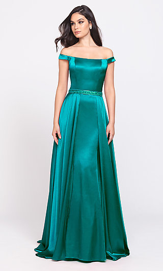 Madison James Long Prom Dress with Removable Skirt