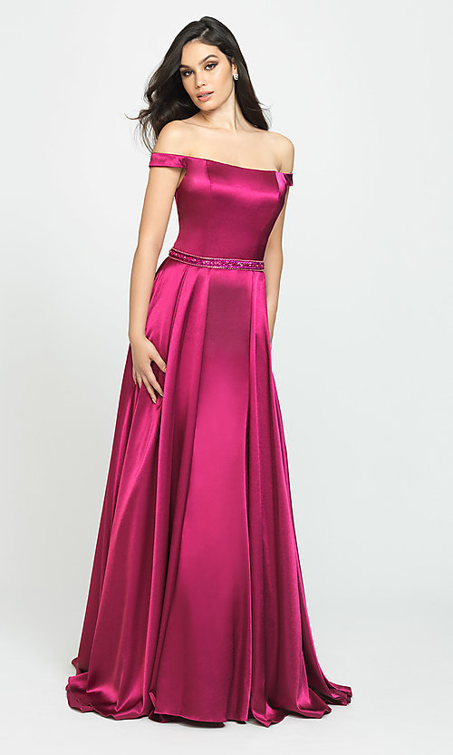 Image of long formal prom dress with removable overskirt. Style: NM-19-161 Detail Image 4