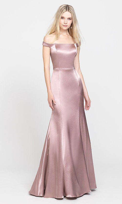 Image of long formal prom dress with removable overskirt. Style: NM-19-161 Detail Image 6
