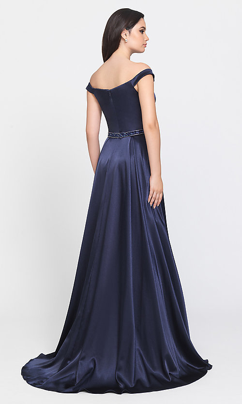 Image of long formal prom dress with removable overskirt. Style: NM-19-161 Back Image