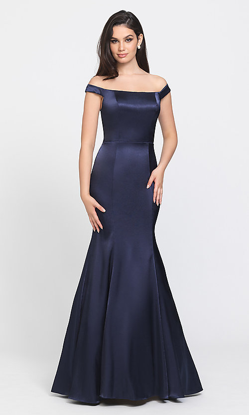 Image of long formal prom dress with removable overskirt. Style: NM-19-161 Detail Image 2