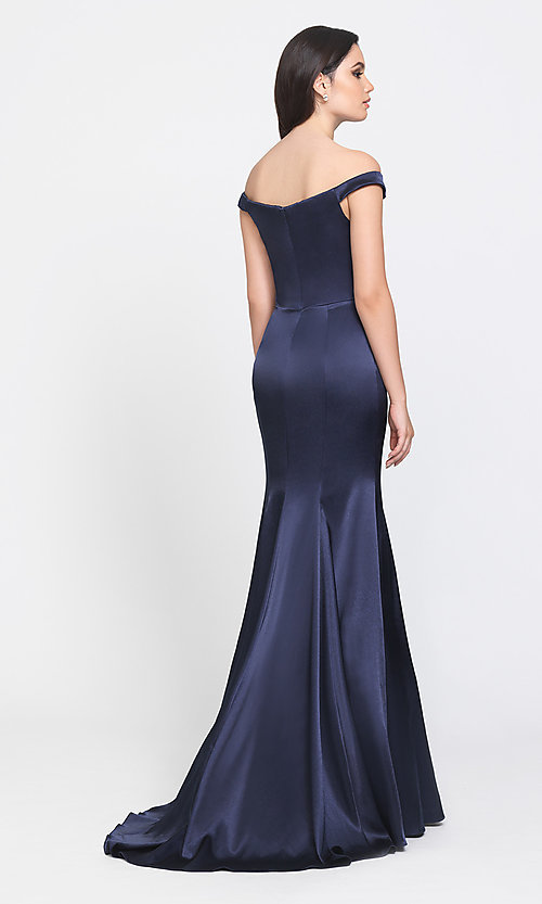 Image of long formal prom dress with removable overskirt. Style: NM-19-161 Detail Image 3
