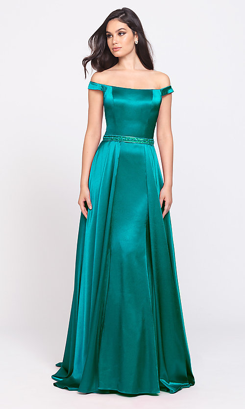 Image of long formal prom dress with removable overskirt. Style: NM-19-161 Detail Image 7