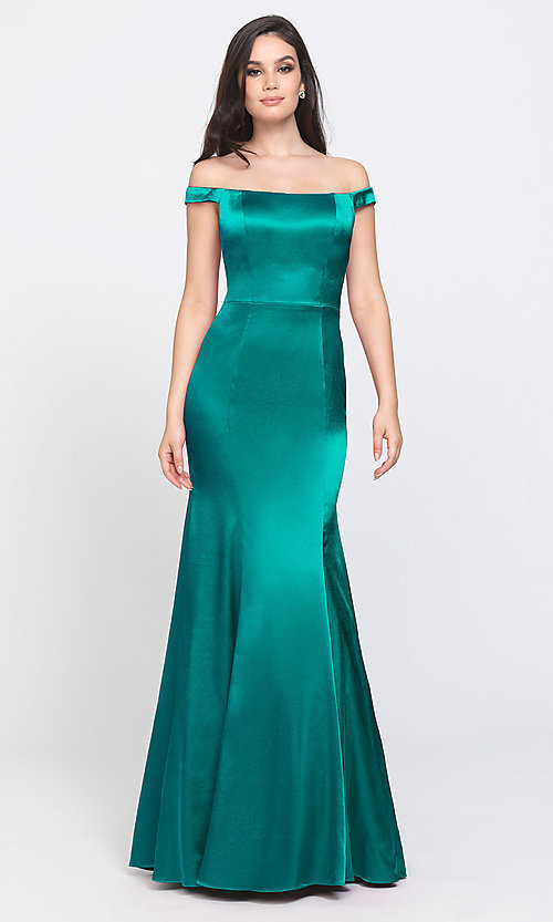 Image of long formal prom dress with removable overskirt. Style: NM-19-161 Detail Image 8