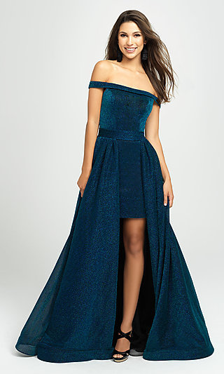 High-Low Metallic Glitter Madison James Prom Dress