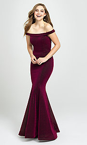 Image of strapless sparkly prom dress in metallic knit. Style: NM-19-164 Front Image