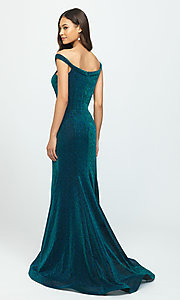 Image of strapless sparkly prom dress in metallic knit. Style: NM-19-164 Back Image