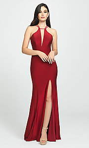 Image of side-slit long prom dress with open back. Style: NM-19-170 Detail Image 1