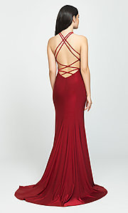 Image of side-slit long prom dress with open back. Style: NM-19-170 Back Image