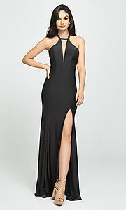 Image of side-slit long prom dress with open back. Style: NM-19-170 Detail Image 2