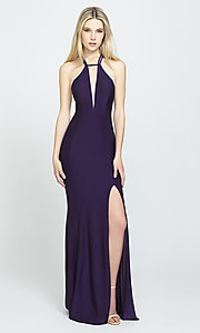 Image of side-slit long prom dress with open back. Style: NM-19-170 Front Image