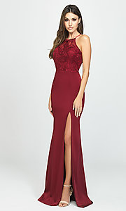 Image of Madison James long high-neck prom dress with slit. Style: NM-19-177 Detail Image 2