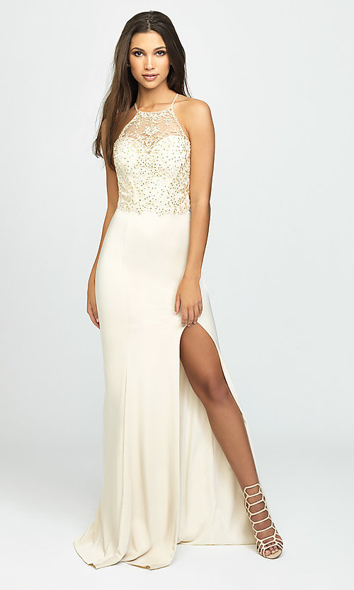Image of Madison James long high-neck prom dress with slit. Style: NM-19-177 Front Image