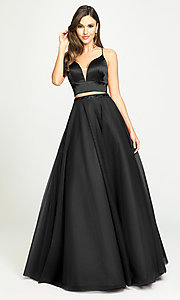 Image of Madison James long two-piece prom dress. Style: NM-19-181 Detail Image 3