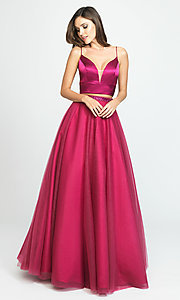 Image of Madison James long two-piece prom dress. Style: NM-19-181 Detail Image 4