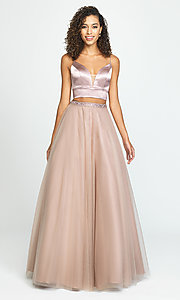 Image of Madison James long two-piece prom dress. Style: NM-19-181 Front Image