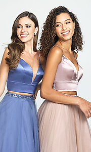 Image of Madison James long two-piece prom dress. Style: NM-19-181 Detail Image 1