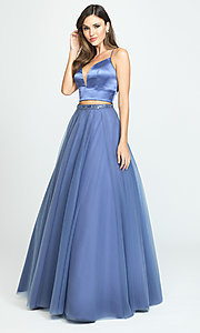 Image of Madison James long two-piece prom dress. Style: NM-19-181 Detail Image 2
