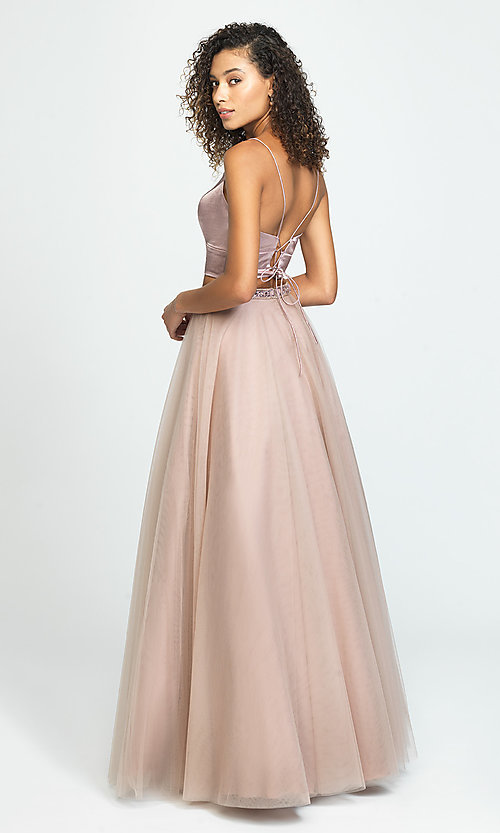 Image of Madison James long two-piece prom dress. Style: NM-19-181 Back Image