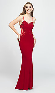 Image of Madison James long formal prom dress with beads. Style: NM-19-182 Detail Image 3