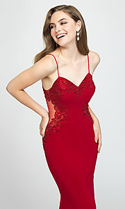Image of Madison James long formal prom dress with beads. Style: NM-19-182 Detail Image 4