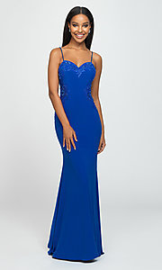 Image of Madison James long formal prom dress with beads. Style: NM-19-182 Detail Image 5