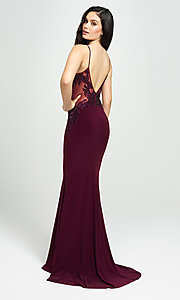 Image of Madison James long formal prom dress with beads. Style: NM-19-182 Back Image