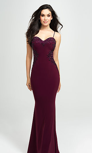 Madison James Long Formal Prom Dress with Beads