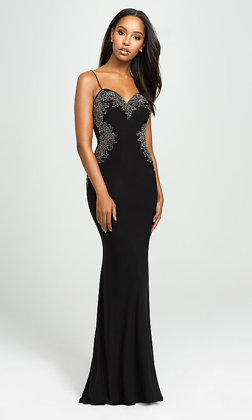 Image of Madison James long formal prom dress with beads. Style: NM-19-182 Detail Image 1