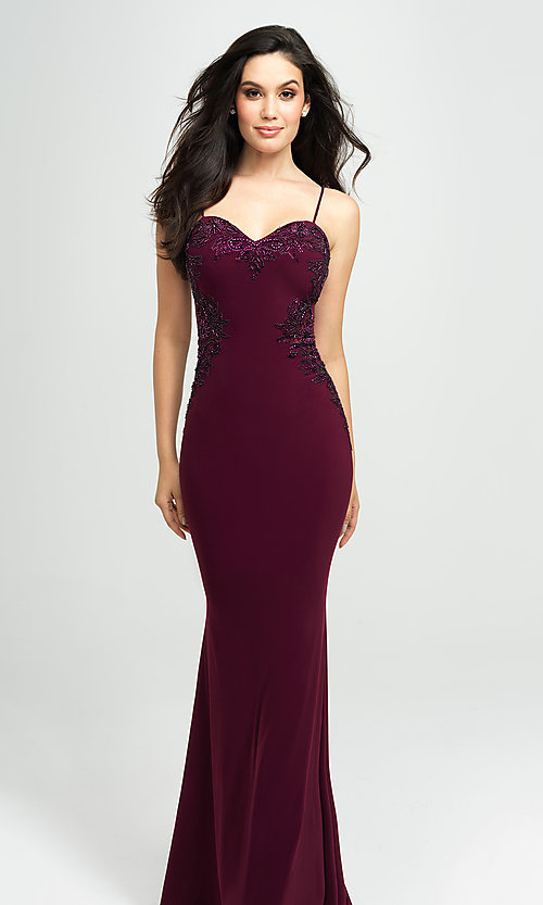 Image of Madison James long formal prom dress with beads. Style: NM-19-182 Front Image