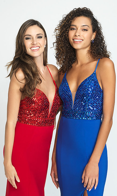 Image of beaded-bodice long Madison James formal prom dress. Style: NM-19-183 Detail Image 3
