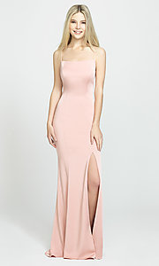Image of backless long prom dress by Madison James. Style: NM-19-185 Detail Image 3