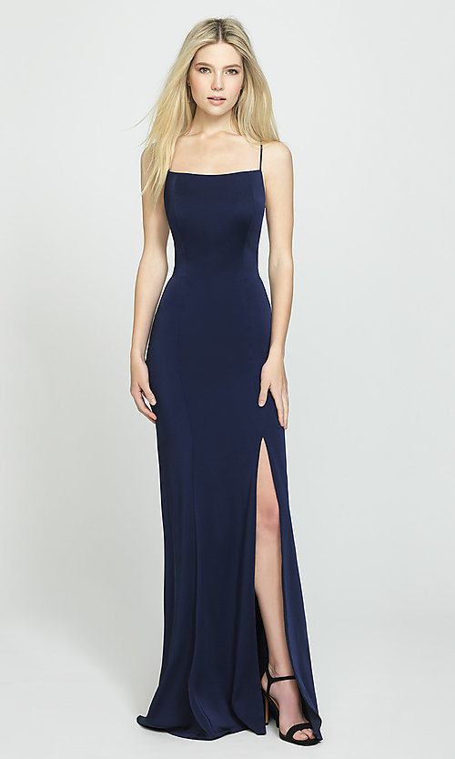 Image of backless long prom dress by Madison James. Style: NM-19-185 Detail Image 2