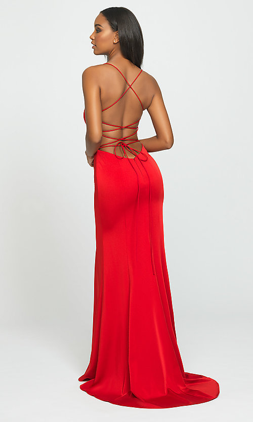 Image of backless long prom dress by Madison James. Style: NM-19-185 Back Image