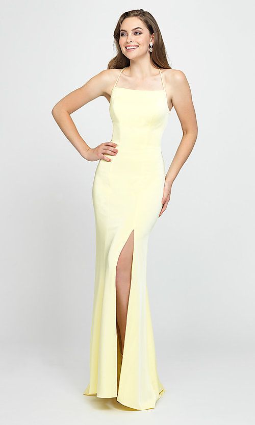 Image of backless long prom dress by Madison James. Style: NM-19-185 Front Image