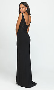 Image of long formal prom dress with embroidered sides. Style: NM-19-191 Back Image
