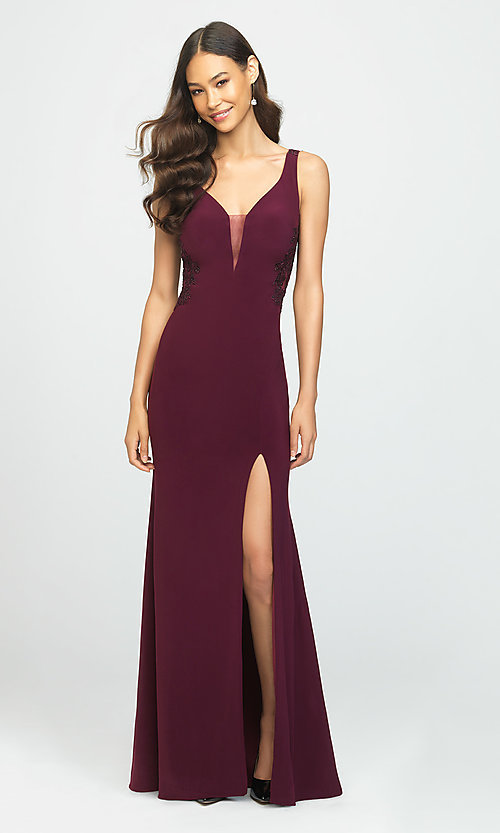 Image of long formal prom dress with embroidered sides. Style: NM-19-191 Front Image