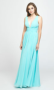 Image of ruched prom dress with low v-neckline. Style: NM-19-193 Detail Image 2