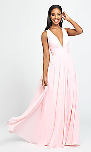 Image of ruched prom dress with low v-neckline. Style: NM-19-193 Detail Image 3