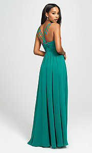 Image of ruched prom dress with low v-neckline. Style: NM-19-193 Back Image