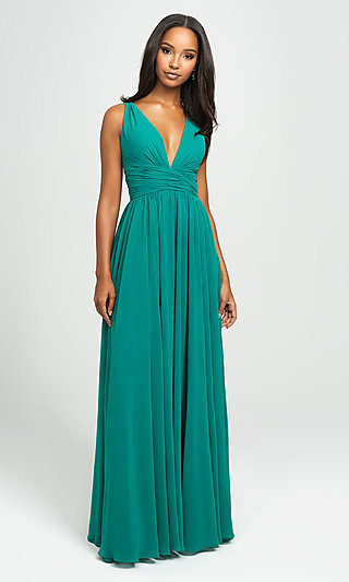 Ruched Prom Dress with Low V-Neckline