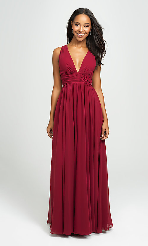 Image of ruched prom dress with low v-neckline. Style: NM-19-193 Detail Image 4