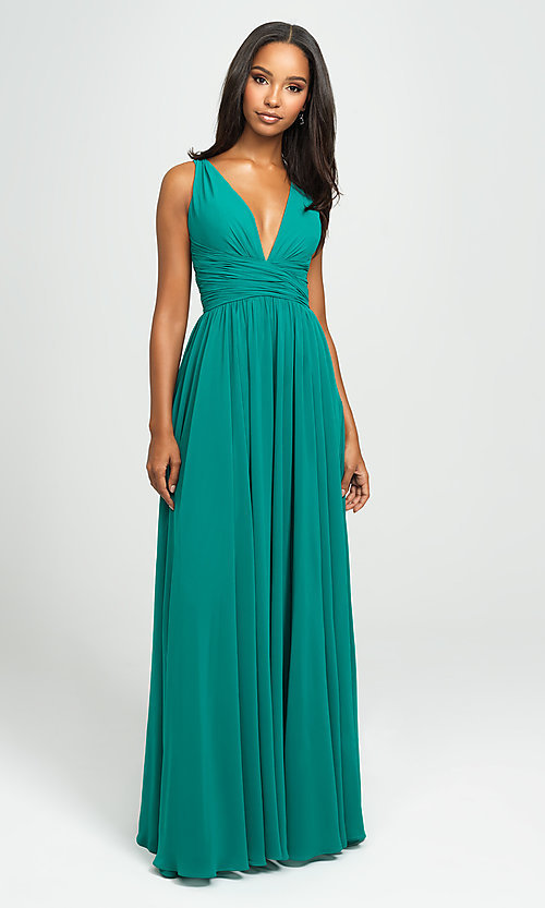 Image of ruched prom dress with low v-neckline. Style: NM-19-193 Front Image