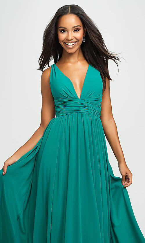 Image of ruched prom dress with low v-neckline. Style: NM-19-193 Detail Image 1