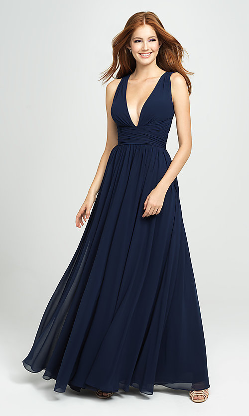 Image of ruched prom dress with low v-neckline. Style: NM-19-193 Detail Image 6