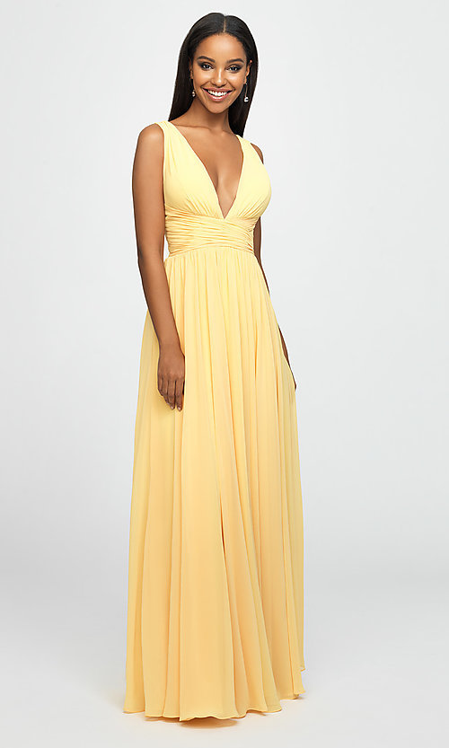 Image of ruched prom dress with low v-neckline. Style: NM-19-193 Detail Image 5