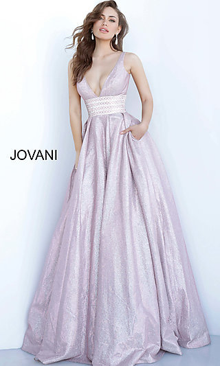 Long Ballgown-Style Pink Glitter Formal Dress