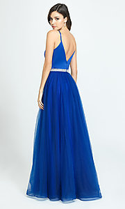 Image of long high-neck prom dress by Madison James. Style: NM-19-196 Back Image