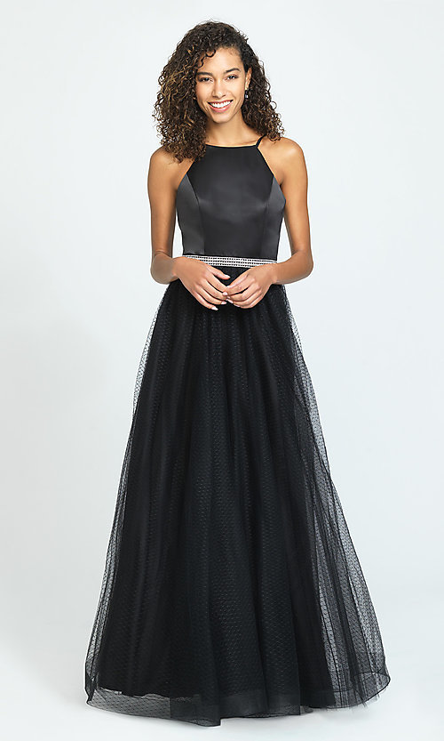 Image of long high-neck prom dress by Madison James. Style: NM-19-196 Front Image