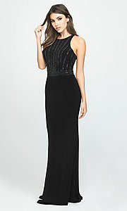 Image of t-back long formal prom dress with beaded bodice. Style: NM-19-197 Detail Image 4